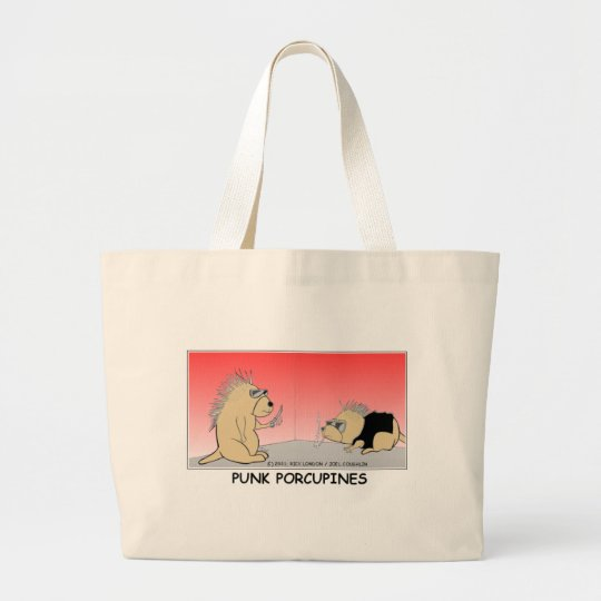 Punk Porcupines Funny Gifts Tees & Collectibles Large Tote Bag