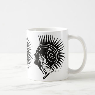 PUNK PUNK (BLACK AND WHITE MOHAWK) CLASSIC WHITE COFFEE MUG