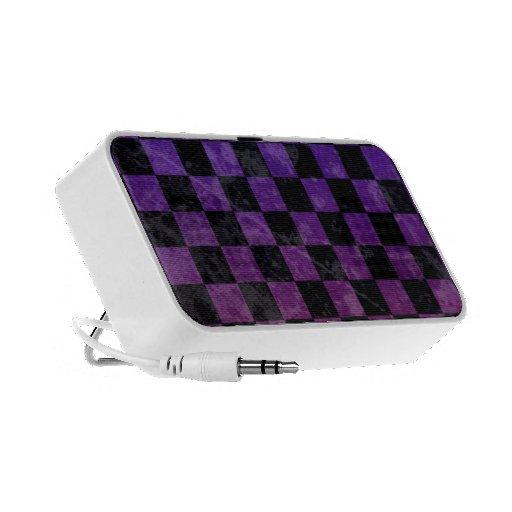 punk purple blue checker board mp3 speakers