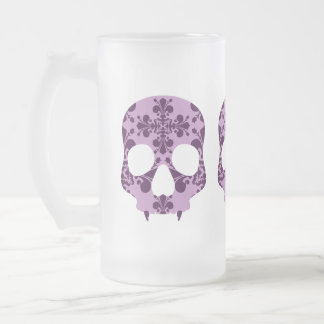 Punk purple damask fanged skull beer mug