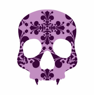 Punk purple damask fanged skull cutout