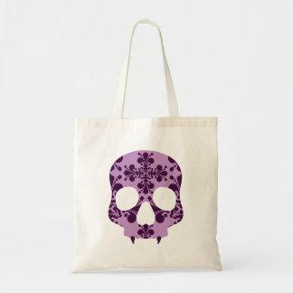 Punk purple damask fanged skull tote bag
