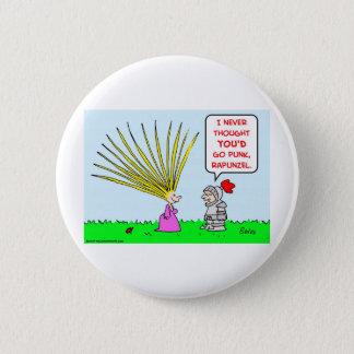 punk rapunzel hair pinback button