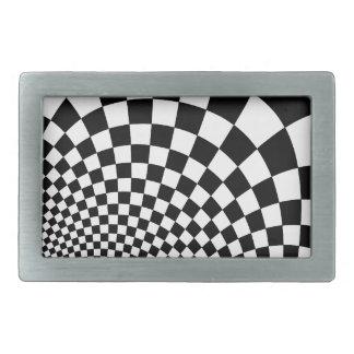 Punk retro checkerboard rectangular belt buckle