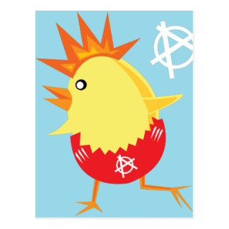 punk rock anarchy easter chick postcard