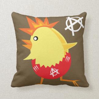 Punk Rock Chicken Throw Pillow