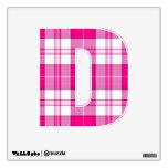 punk rock emo pink plaid tartan letter D Wall Decor