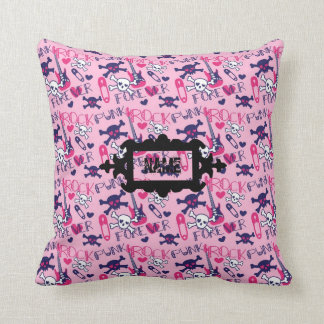 Punk Rock Forever Teen Girl room decor personalize Throw Pillow