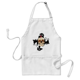 Punk Rock Gothic Skull with Red Mohawk Adult Apron
