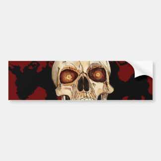 Punk Rock Gothic Skull with Red Mohawk Bumper Sticker