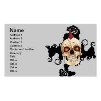 Punk Rock Gothic Skull with Red Mohawk Business Card