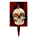 Punk Rock Gothic Skull with Red Mohawk Cake Toppers