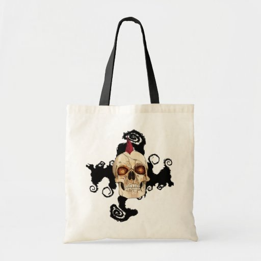 Punk Rock Gothic Skull with Red Mohawk Canvas Bags