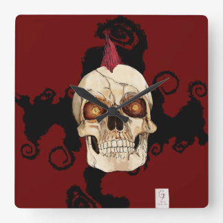 Punk Rock Gothic Skull with Red Mohawk Clocks
