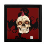 Punk Rock Gothic Skull with Red Mohawk Trinket Boxes