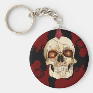 Punk Rock Gothic Skull with Red Mohawk Key Chains
