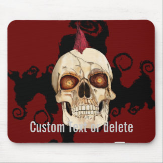 Punk Rock Gothic Skull with Red Mohawk Mouse Pad