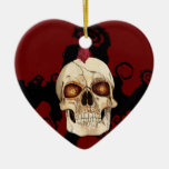 Punk Rock Gothic Skull with Red Mohawk Christmas Ornaments