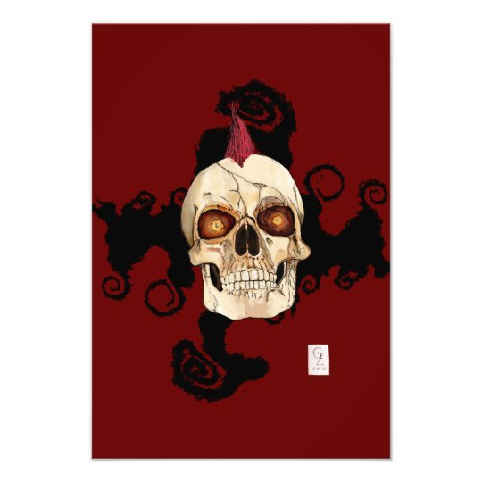 Punk Rock Gothic Skull with Red Mohawk Photo Print