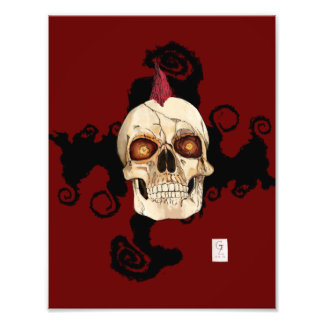 Punk Rock Gothic Skull with Red Mohawk Photo Art