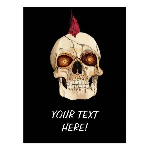 Punk Rock Gothic Skull with Red Mohawk Postcard