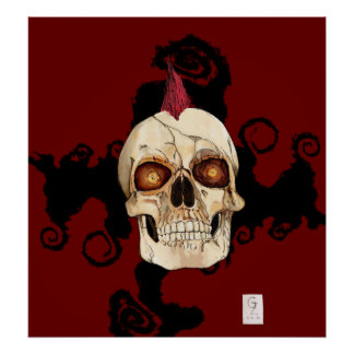 Punk Rock Gothic Skull with Red Mohawk Poster