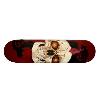 Punk Rock Gothic Skull with Red Mohawk Skateboard