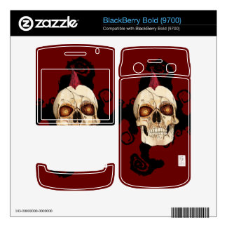 Punk Rock Gothic Skull with Red Mohawk BlackBerry Bold Skins