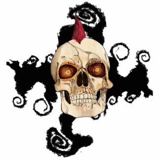 Punk Rock Gothic Skull with Red Mohawk Statuette