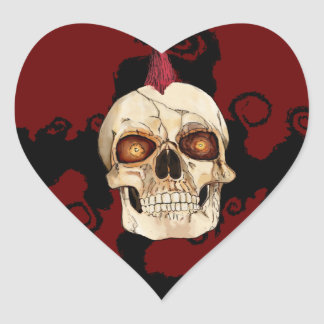Punk Rock Gothic Skull with Red Mohawk Heart Sticker