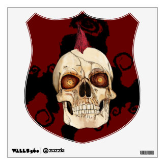 Punk Rock Gothic Skull with Red Mohawk Wall Sticker
