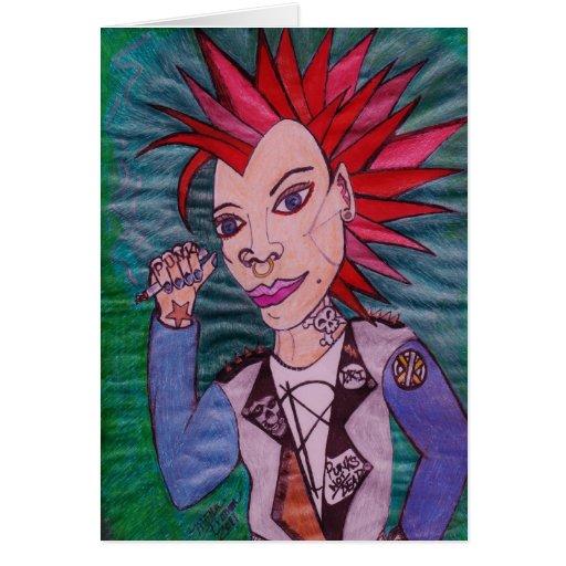 """Punk Rock"" Greeting Card"