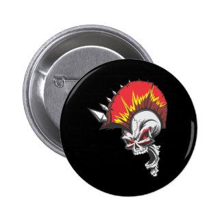 Punk Rock Headbangers Spiked Skull Button