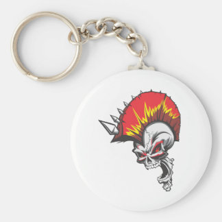 Punk Rock Headbangers Spiked Skull Keychain