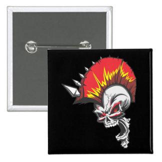 Punk Rock Headbangers Spiked Skull Pinback Button