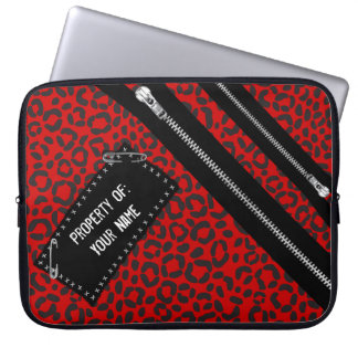 Punk Rock Leopard Print, Zips, Pins and Patch Laptop Sleeve