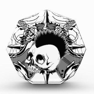 Punk Rock Mohawk Skull Roses Guitars Spikes Award