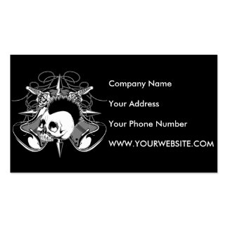Punk Rock Mohawk Skull Roses Guitars Spikes Business Card