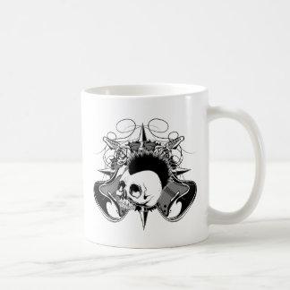 Punk Rock Mohawk Skull Roses Guitars Spikes Coffee Mug