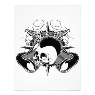 Punk Rock Mohawk Skull Roses Guitars Spikes Letterhead
