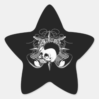 Punk Rock Mohawk Skull Roses Guitars Spikes Star Sticker