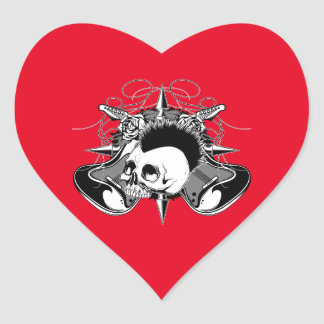 Punk Rock Mohawk Skull Roses Guitars Spikes Heart Sticker
