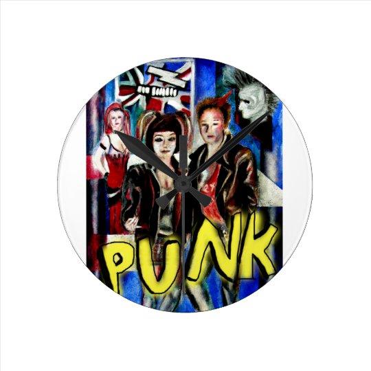 punk rock music fashion image round clock