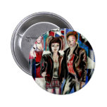 punk rock music print , with popart by T J Conway Pinback Button