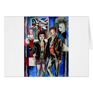 punk rock music print , with popart by T J Conway Greeting Card