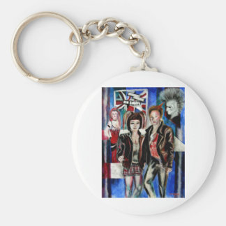 punk rock music print , with popart by T J Conway Keychains