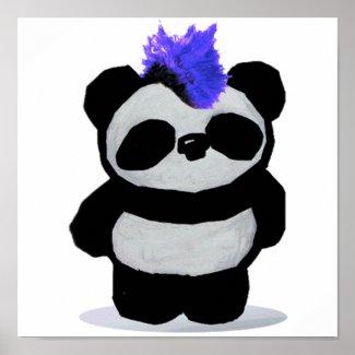 Punk Rock Panda Poster print