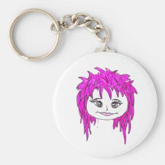 Punk rock pink basic round button keychain