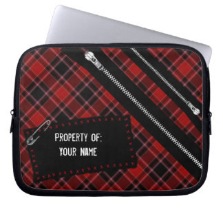 Punk Rock Plaid, Zips, Safety Pins and Patch Bag
