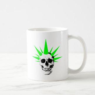 Punk Rock Skull with Neon Green Spikey Hair Coffee Mug